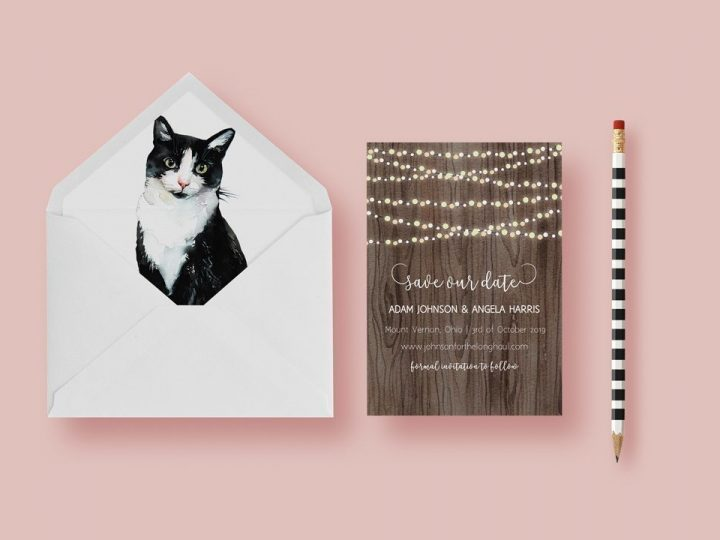 Free Envelope Liners, Cat Lover for Save the Date Cards, wedding cards, invitations