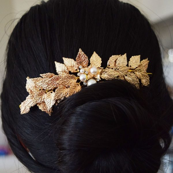 Wedding Hair Accessory, Bridal Headpiece in Gold with Leaves and Pearls