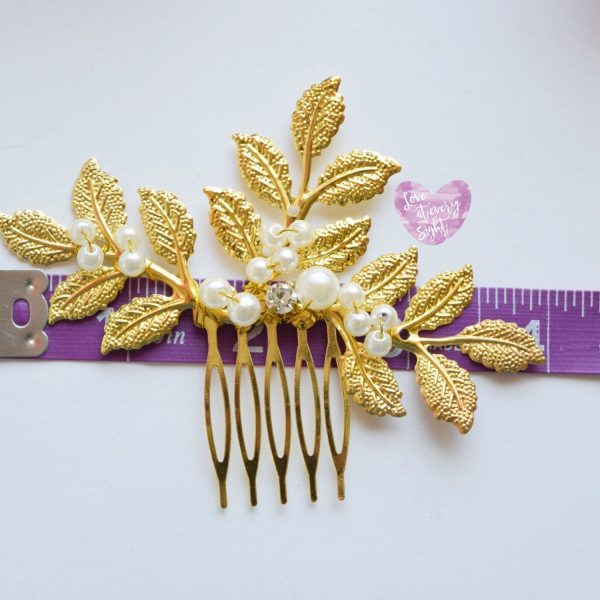 Gold Wedding Bridal Headpiece Comb