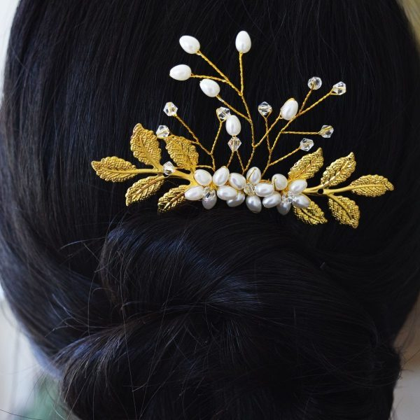 Elegant Gold Wedding Laurel Bridal Comb with Pearls and Beads