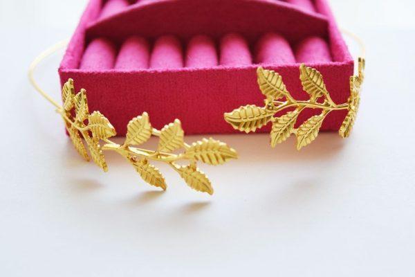 Wedding Headpiece in Gold with Leaves, Greek Bridal Wedding Crowns