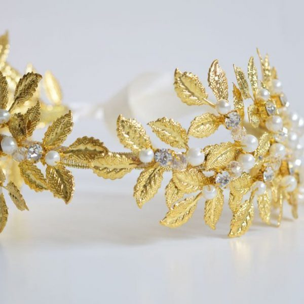 Wedding Crown Bridal Hair Accessory, Headband with Golden Leaves and Pearls