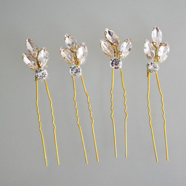 Elegant Wedding Hairpin, Crystals and Sold in Set of Four