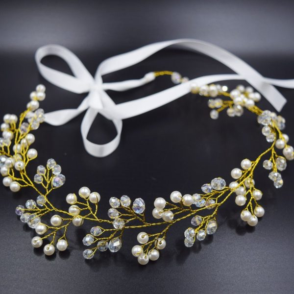 Bridal Headpiece Headband with Beads and Pearls, Wedding Vine Crown