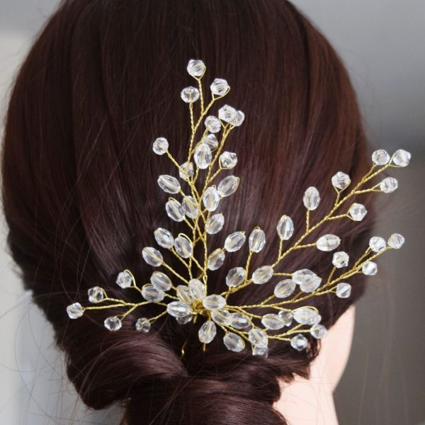 Wedding Hair Pin in Gold with Beads, Beautiful and Elegant Bridal Pin