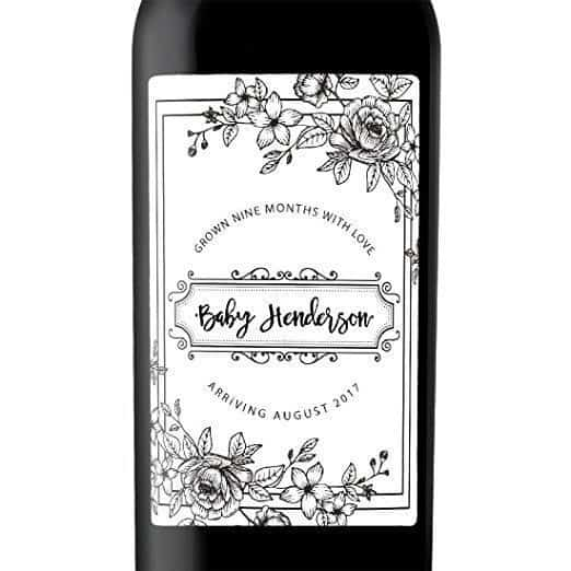 Nine Months with Love Wine Bottle Label Stickers