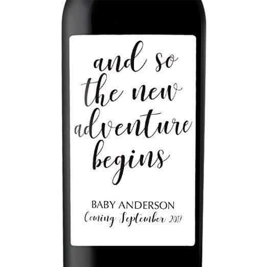 New Adventure Begins Wine Bottle Label Stickers