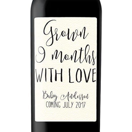 Grown Nine Months Wine Bottle Label Stickers