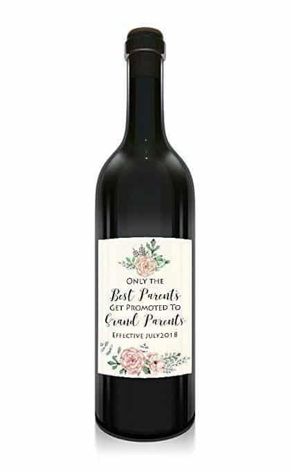 Parents to Grandparents Wine Bottle Label Stickers