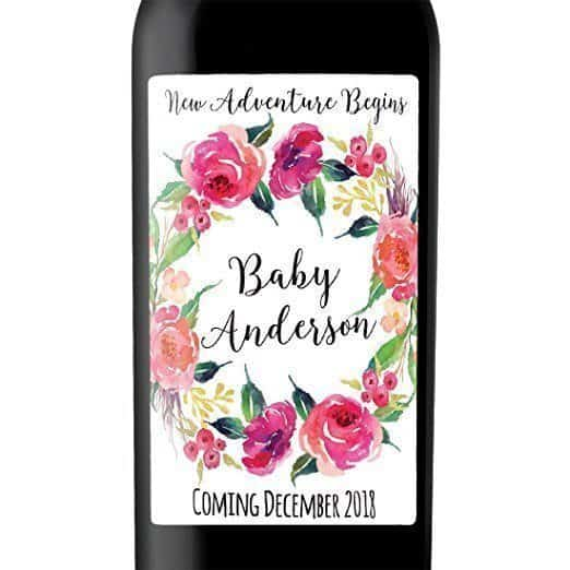 Floral Invitation Wine Bottle Label Stickers