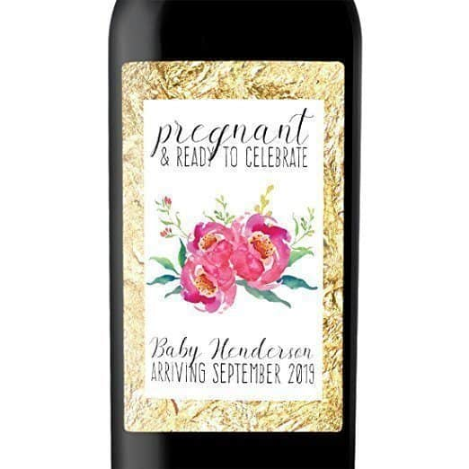 Pregnant and Ready to Celebrate Wine Bottle Label Stickers
