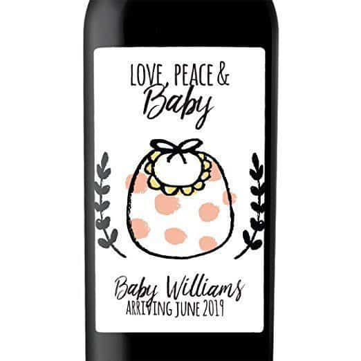 Love, Peace and Baby Wine Bottle Label Stickers