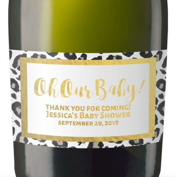 Oh Our Baby! Personalized Mini Champagne Bottle Label Stickers for Baby Shower Party