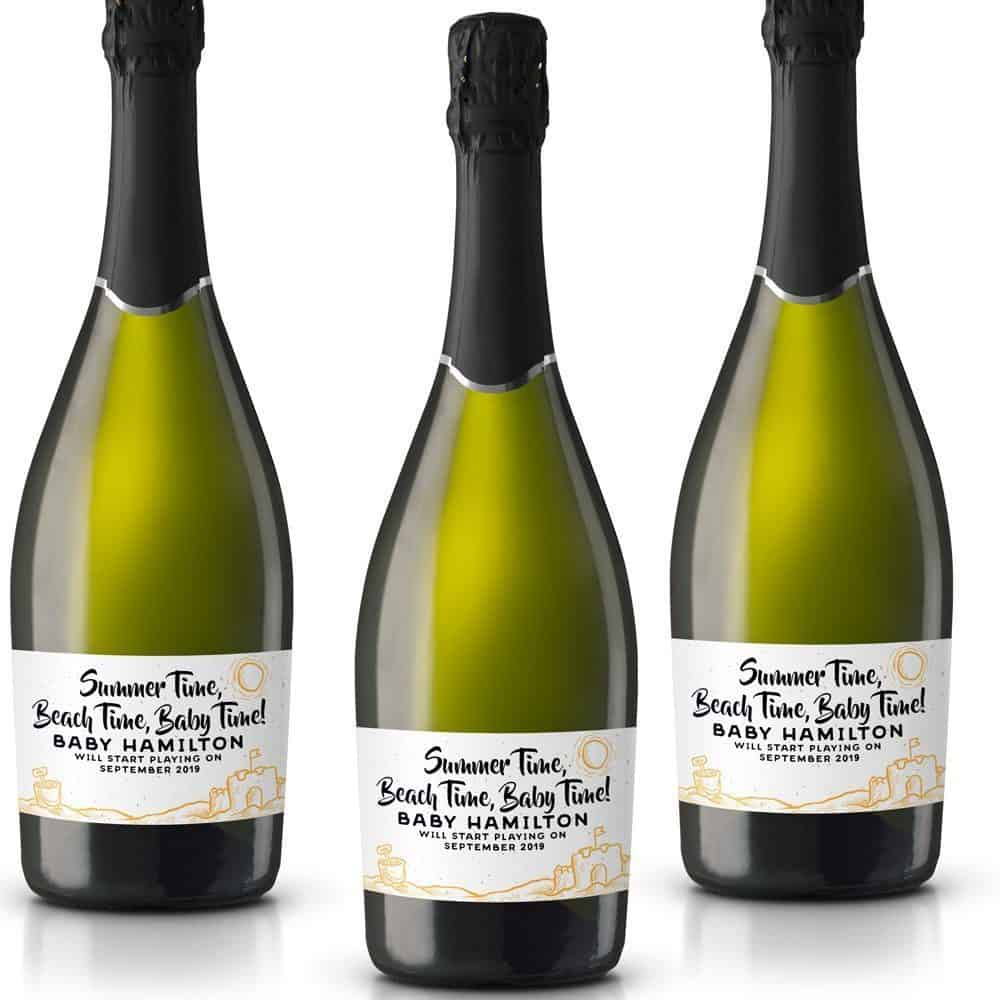 Summer Time, Baby Personalized Mini Champagne Bottle Label Stickers for Baby Shower Party