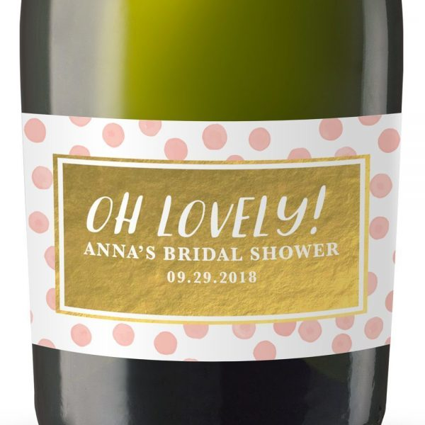 Oh Lovely! Personalized Mini Champagne Bottle Label Stickers for Bridal Shower, Bachelorette and Engagement Party