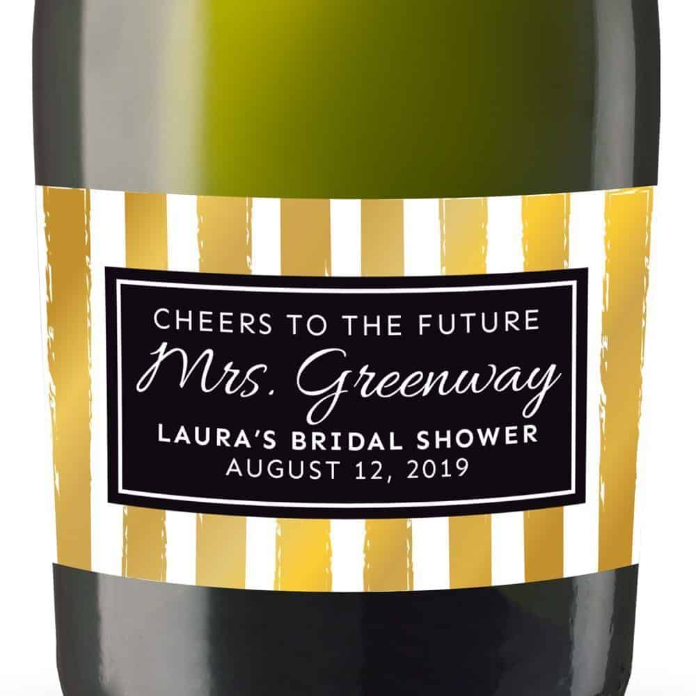The Future Mrs Personalized Mini Champagne Bottle Label Stickers for Bridal Shower, Bachelorette and Engagement Party