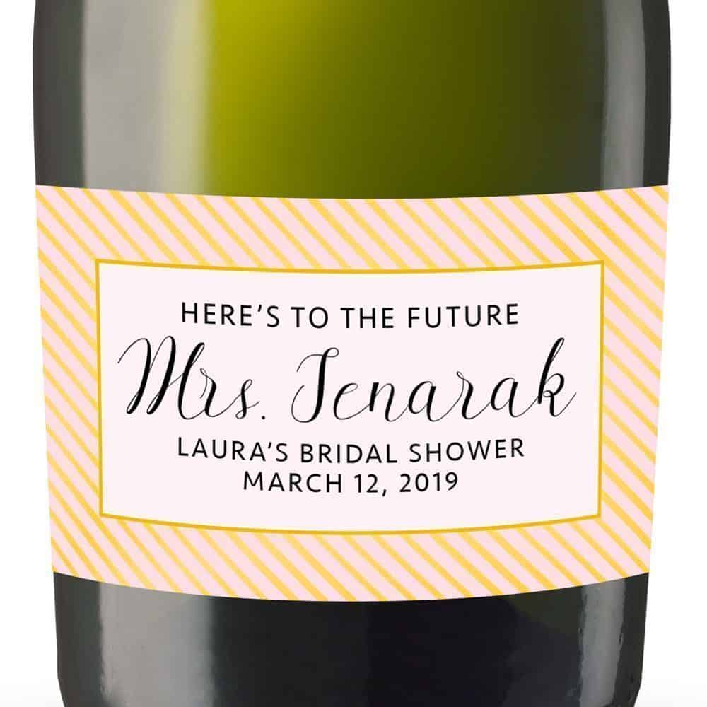 Here's To The Personalized Mini Champagne Bottle Label Stickers for Bridal Shower, Bachelorette and Engagement Party