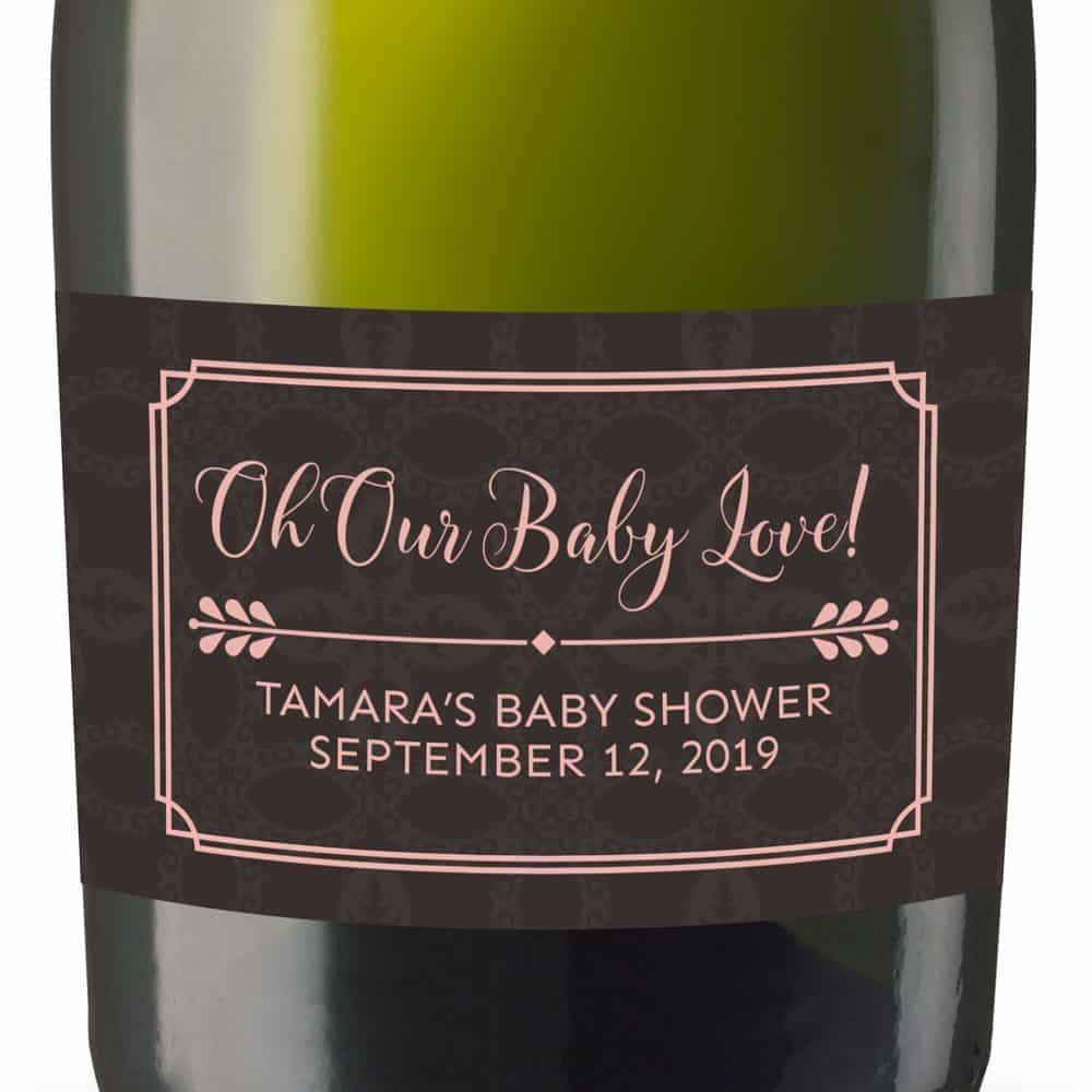 Baby Love! Personalized Mini Champagne Bottle Label Stickers for Baby Shower Party