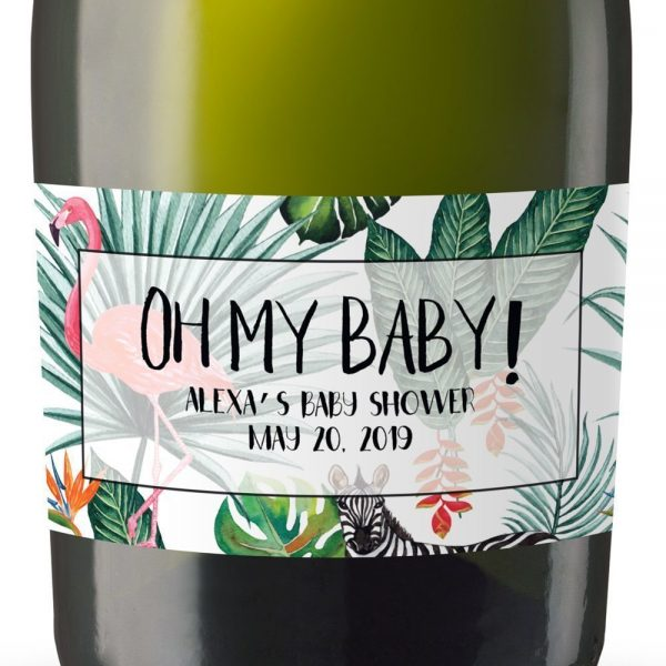 Safari Baby Personalized Mini Champagne Bottle Label Stickers for Baby Shower Party