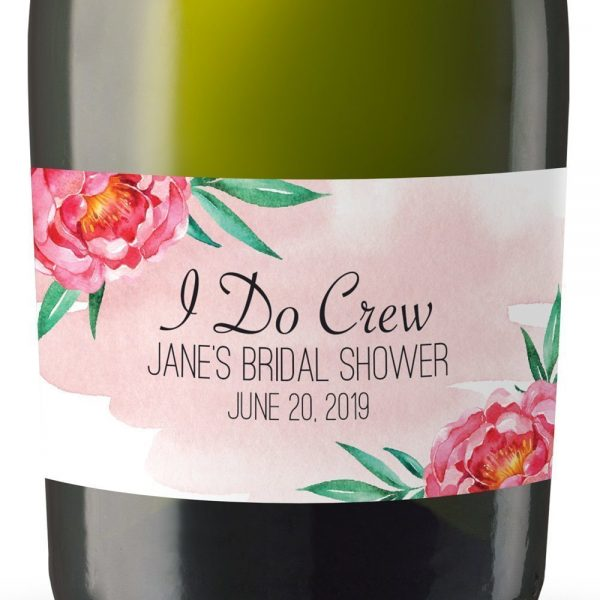 I Do Crew Personalized Mini Champagne Bottle Label Stickers for Bridal Shower, Bachelorette and Engagement Party