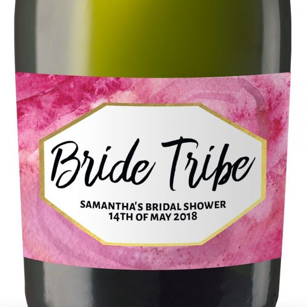 Bride Tribe Personalized Mini Champagne Bottle Label Stickers for Bridal Shower, Bachelorette and Engagement Party