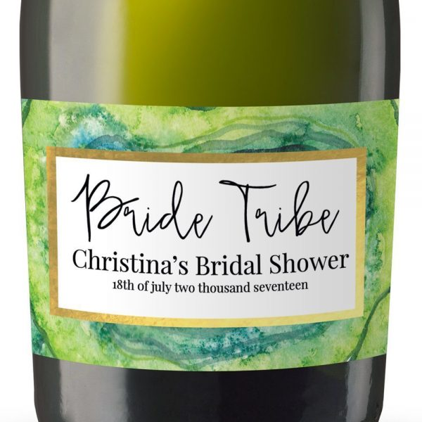 Bride Tribe I Personalized Mini Champagne Bottle Label Stickers for Bridal Shower, Bachelorette and Engagement Party