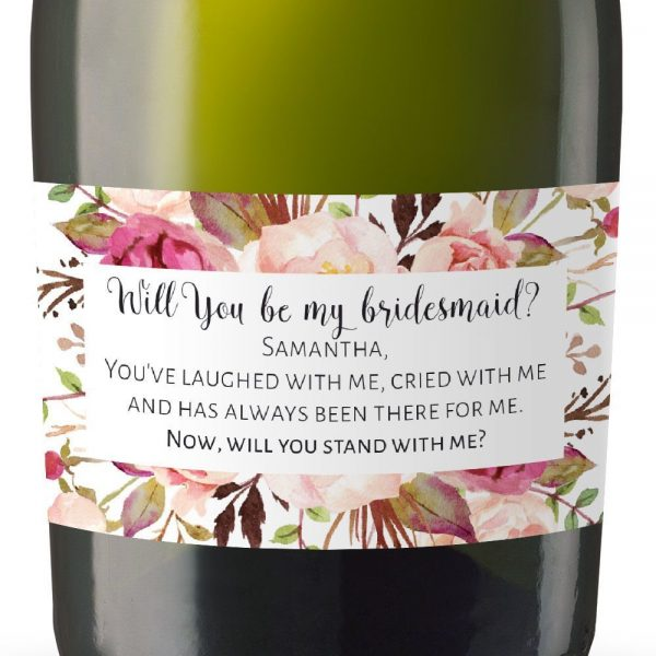 Maid Of Honor Mini Champagne Wine Bottle Custom Label Sticker - Will You Be My Bridesmaid, Matron & Maiden of Honor Proposal Gift, Bridal Shower Party - Specialized Personalized Bespoke Set of 8