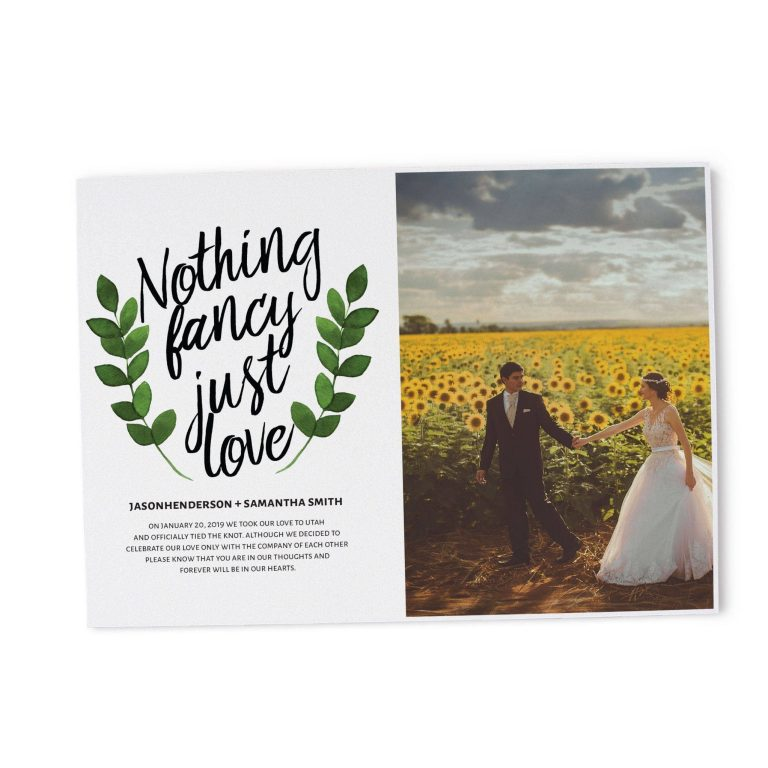 Nothing Fancy Just Love Elopement Announcement Cards, Add Your Own Picture Elopement Cards elopement102