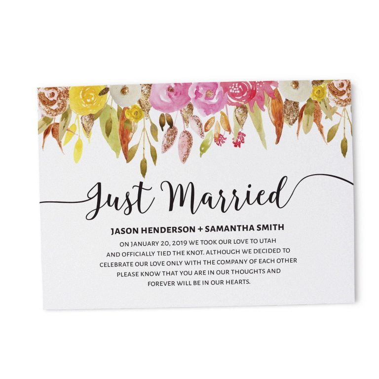 Just Married Eloped Cards Announcement Cards, Floral with Gold Glitter Announcements elopement104