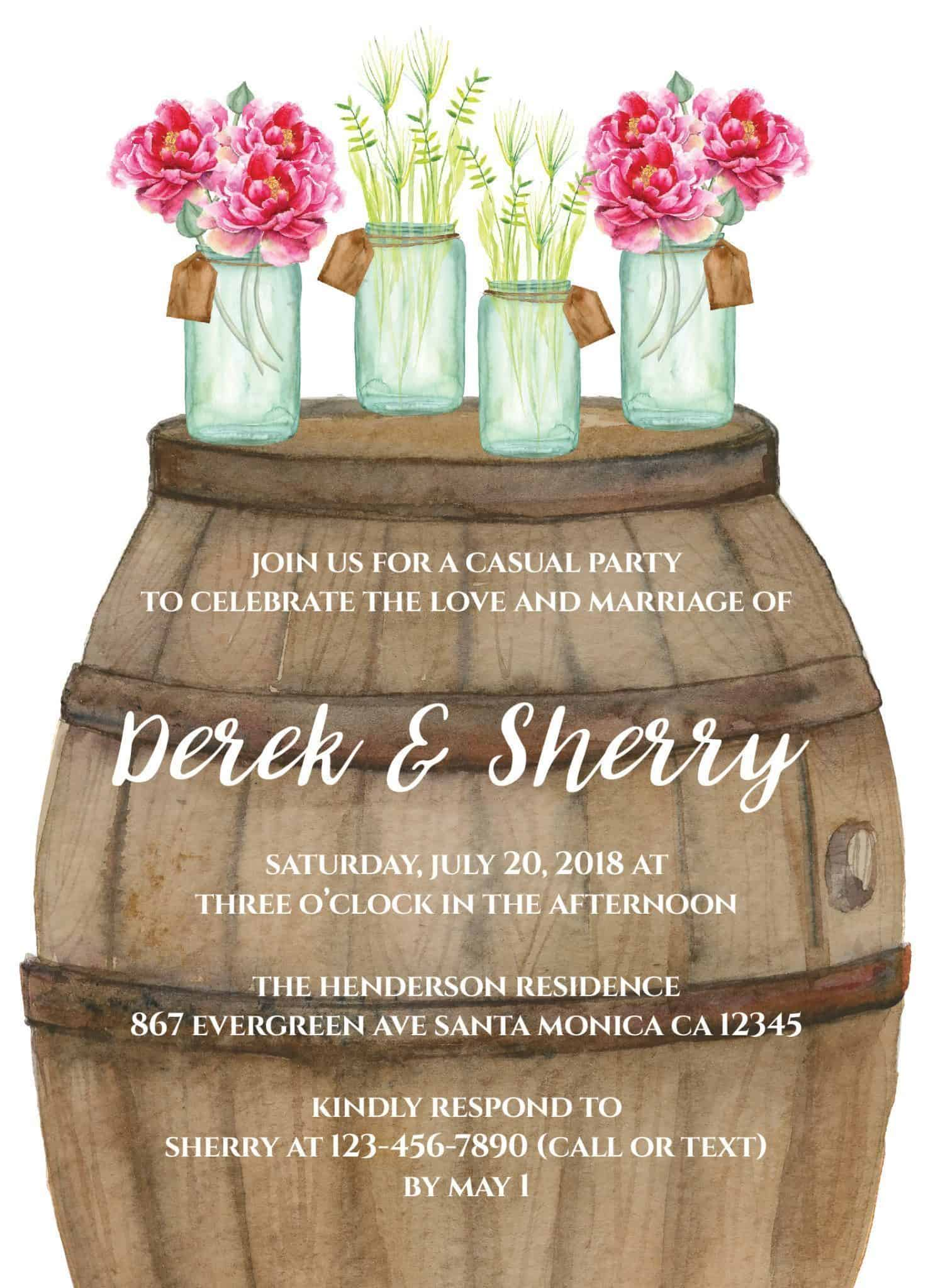 Rustic Wedding Reception Cards for Elopement Receptions, Casual Party, Dinner and Backyard BBQ ...