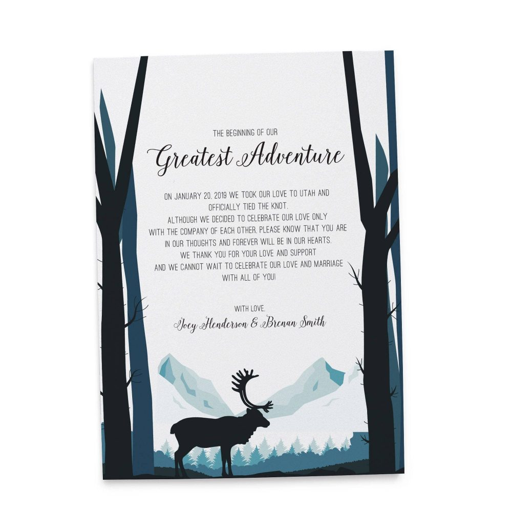 The Beginning of Our Greatest Adventure Elopement Announcement, Mountains Eloped Cards elopement118