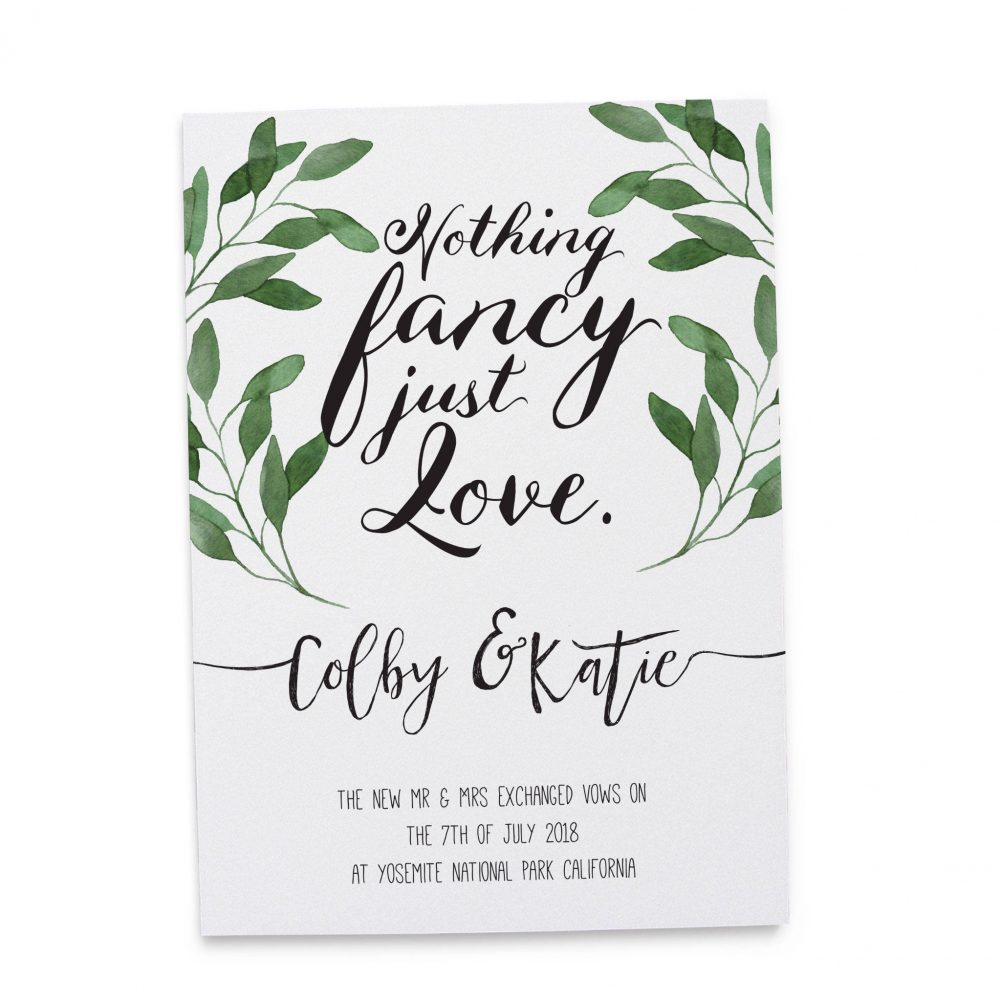 """""""Nothing Fancy Just Love"""" Cards, Green Leaves Elopement Announcements, Elopement Announcement Cards elopement122"""