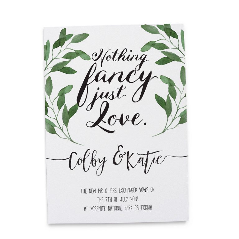 """Nothing Fancy Just Love"" Cards, Green Leaves Elopement Announcements, Elopement Announcement Cards elopement122"