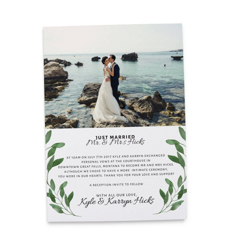 Just Married Elopement Announcement Cards with Leaves, Add Your Own Photo elopement123