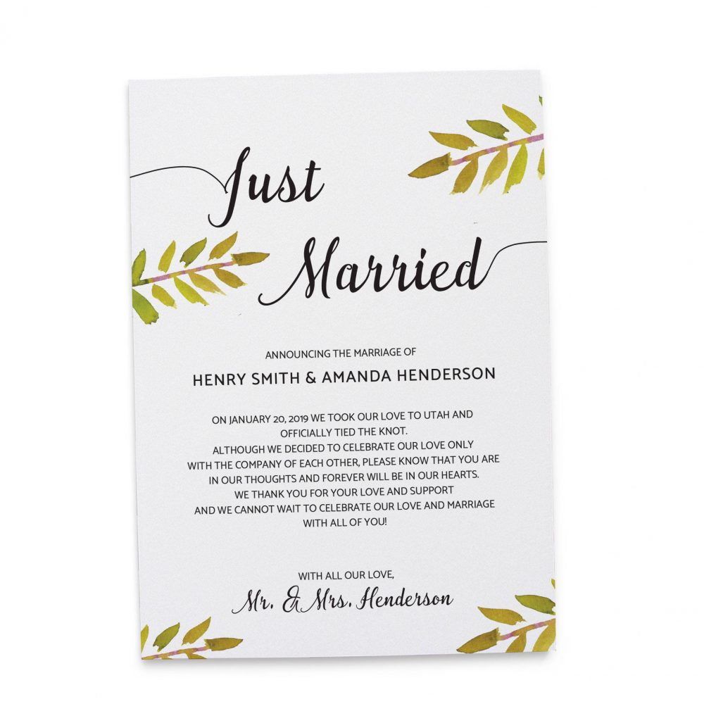 Just Married Elopement Announcement Cards with Leaves & Branches elopement124