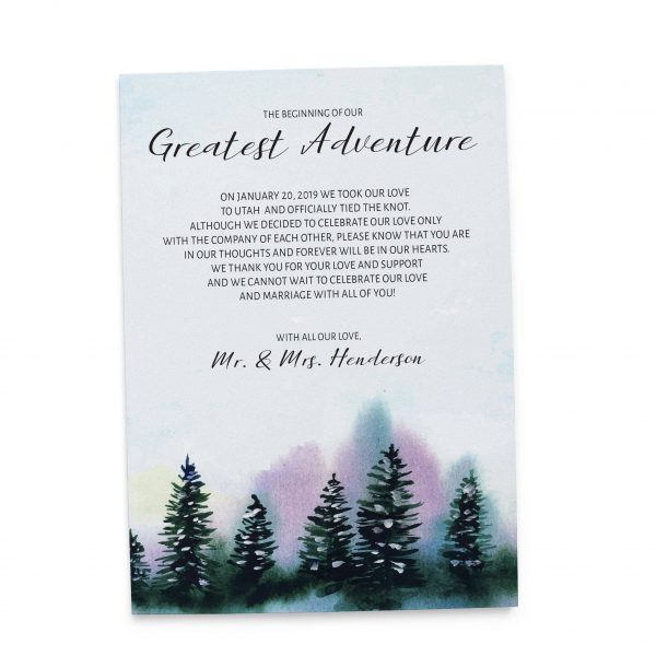 The Beginning of Our Greatest Adventure, Winter Pine Trees Elopement Cards, Elopement Announcement Cards elopement125