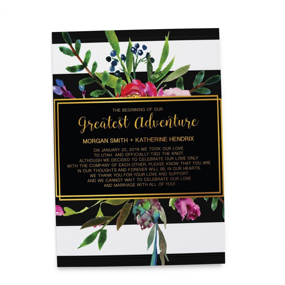The Beginning of Our Greatest Adventure, Floral Elopement Cards, Wedding Announcement Cards elopement134