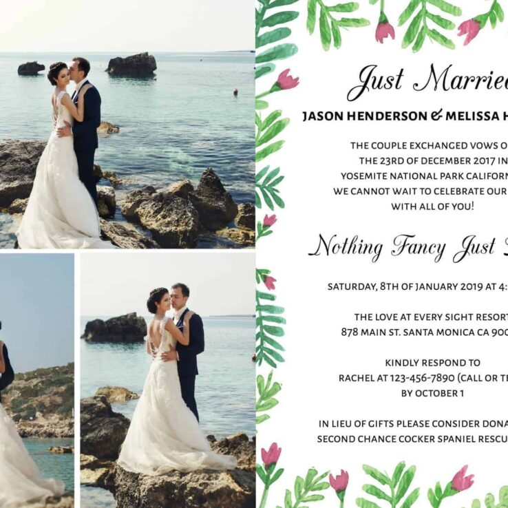 Just Married We Eloped Party Invites, Nothing Fancy Just Love Wedding Reception Invitation Cards, Add Your Photos elopement140