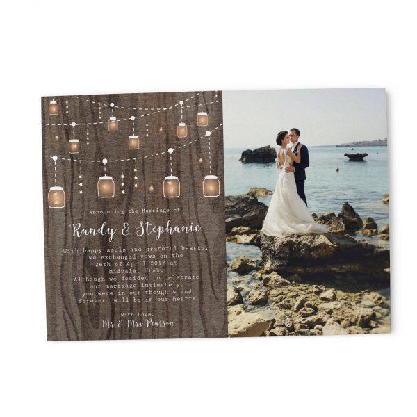Rustic Elopement Cards, String Lights Elopement Announcement Cards elopement141