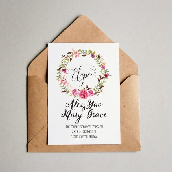 We Tied The Knot Eloped Cards Announcement Cards, Nature, Winter Lake Wedding Annoucement Cards elopement144