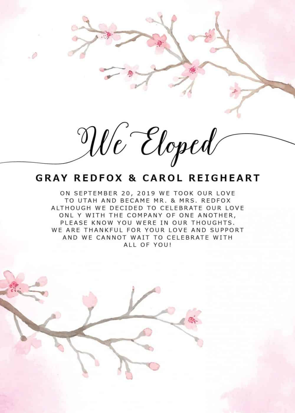 """We Eloped"" Cards, Sakura Cherry Blossom Elopement Announcements, Elopement Announcement Cards elopement154"