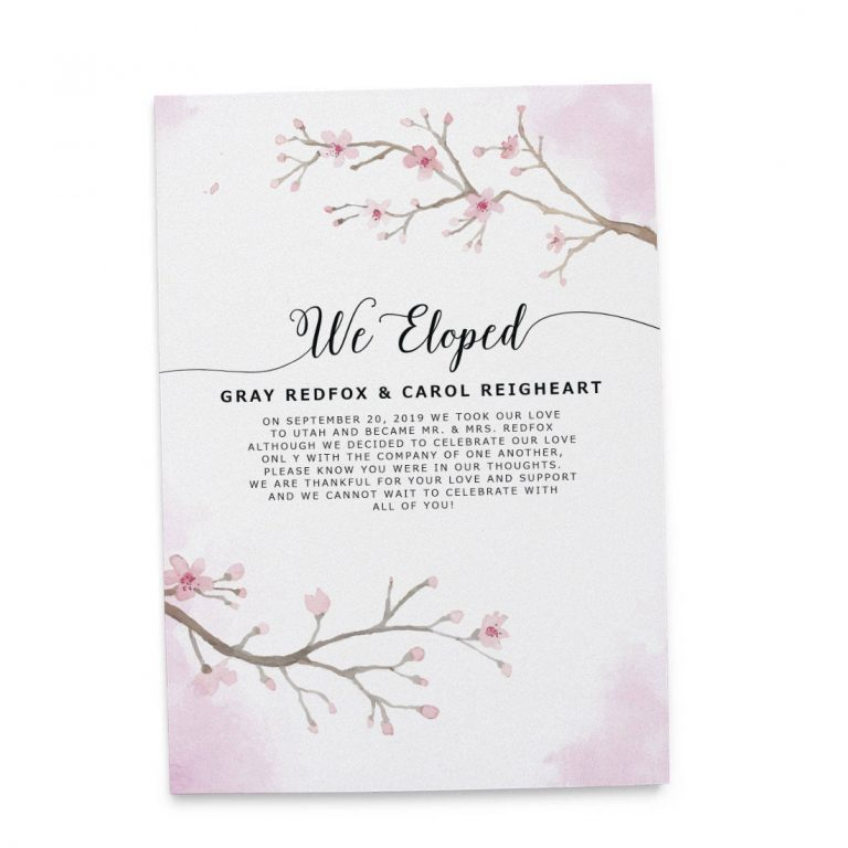 """We Eloped"" Cards, Sakura Cherry Blossom Elopement Announcements, Elopement Announcement Cards elopement154"