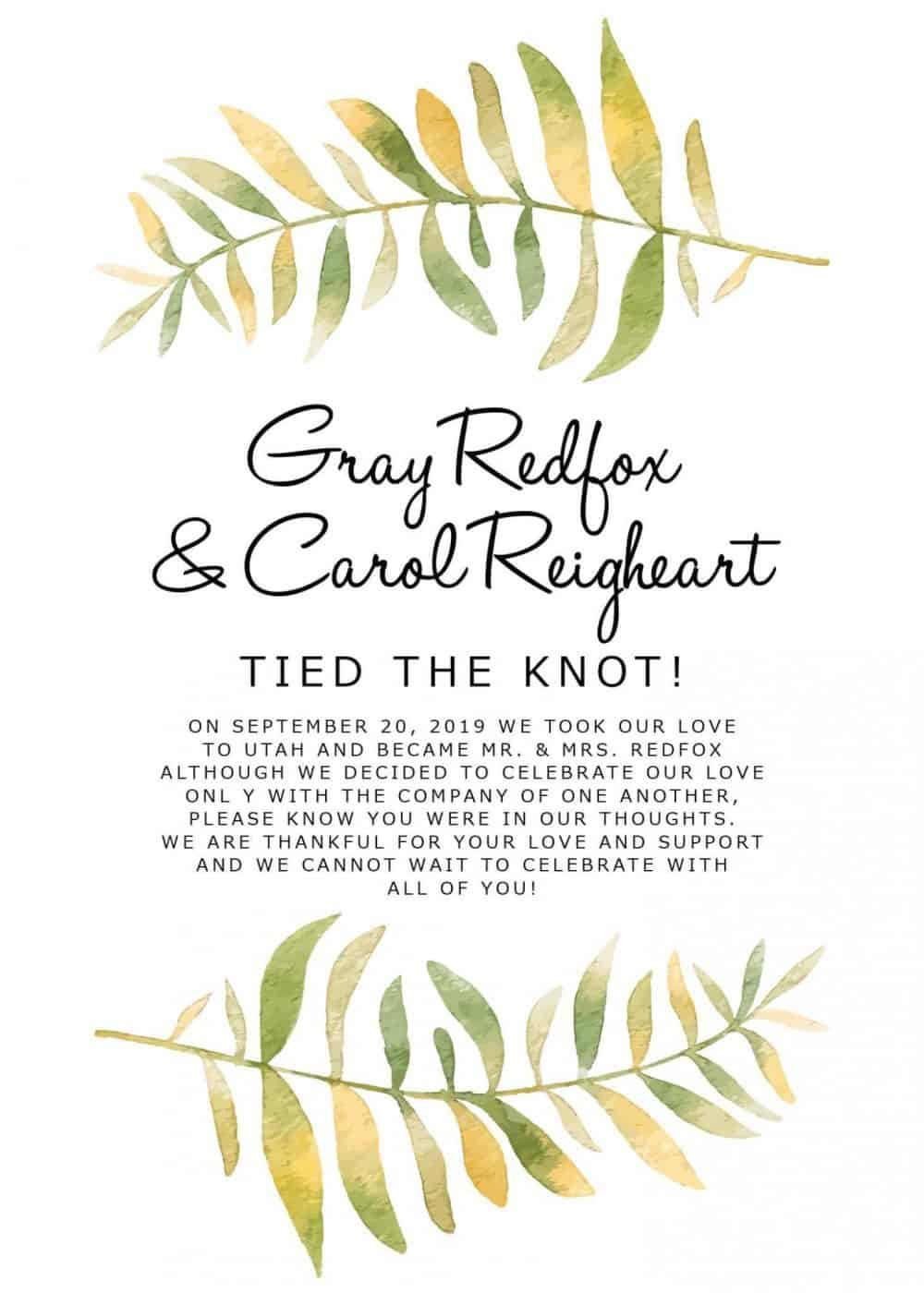 """""""Tied the Knot"""" Cards, Green Branches Elopement Announcements, Elopement Announcement Cards elopement155"""