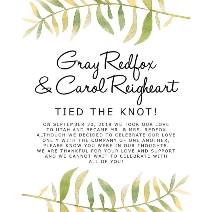 """Tied the Knot"" Cards, Green Branches Elopement Announcements, Elopement Announcement Cards elopement155"