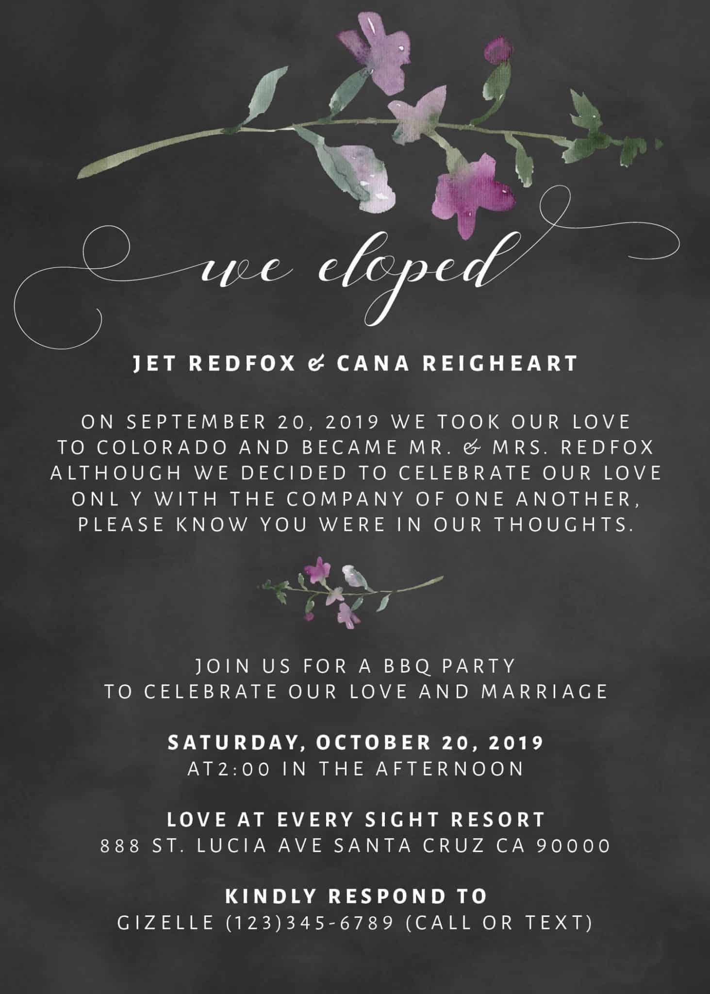 We Eloped Party Invites, BBQ Casual Chalkboard Party Invitations ...