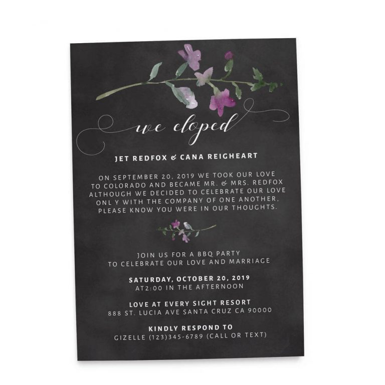We Eloped Party Invites, BBQ Casual Chalkboard Party Invitations Wedding Reception Invitation Cards elopement159