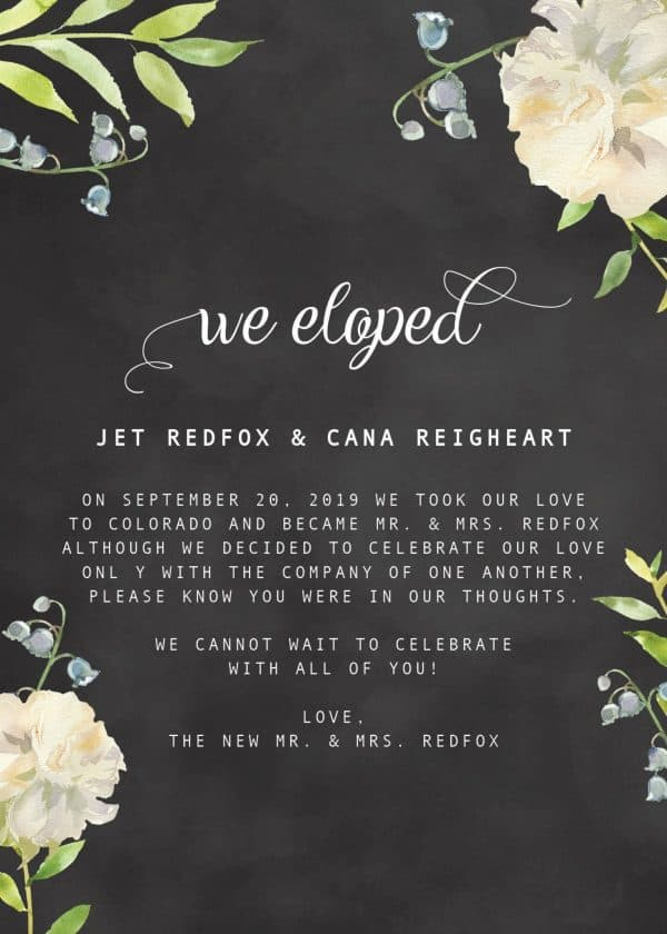 """""""We Eloped"""" Cards, Chalkboard Floral Elopement Announcements, Elopement Announcement Cards elopement160"""