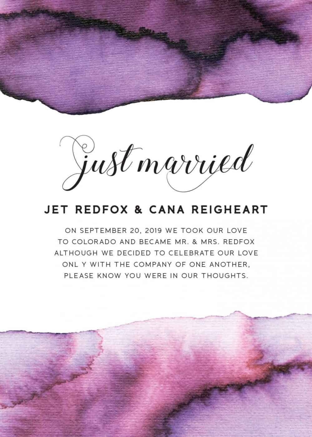 """Just Married"" Cards, Elopement Announcements, Purple Watercolor Elopement Announcement Cards elopement162"