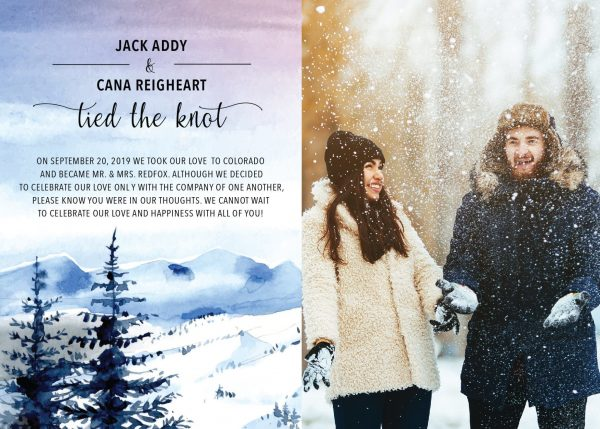 """""""Tied the Knot"""" Cards, Elopement Announcements, Add Your Own Picture Winter Mountains Elopement Cards elopement164"""