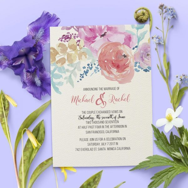 Elopement Announcement Cards, Vintage and Floral Elopement Cards elopement25
